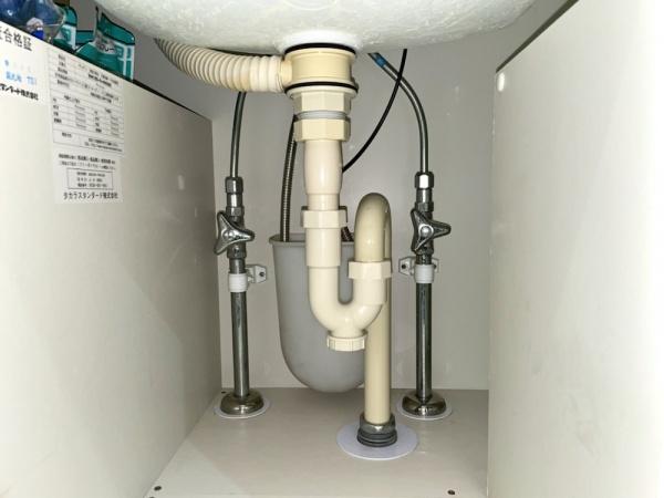 洗面台下部収納部。洗面台既設蛇口。
